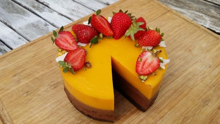 Cruditarta de mango e choco