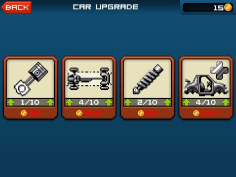 Each vehicle can be upgraded in 4 categories. You'll struggle to notice the difference they make, though.