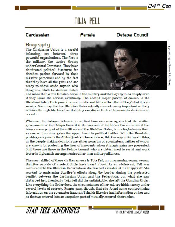 Toja Pell - Cardassian Diplomat - Preview