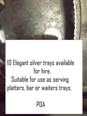 Hire silver trays. Hire waiters trays