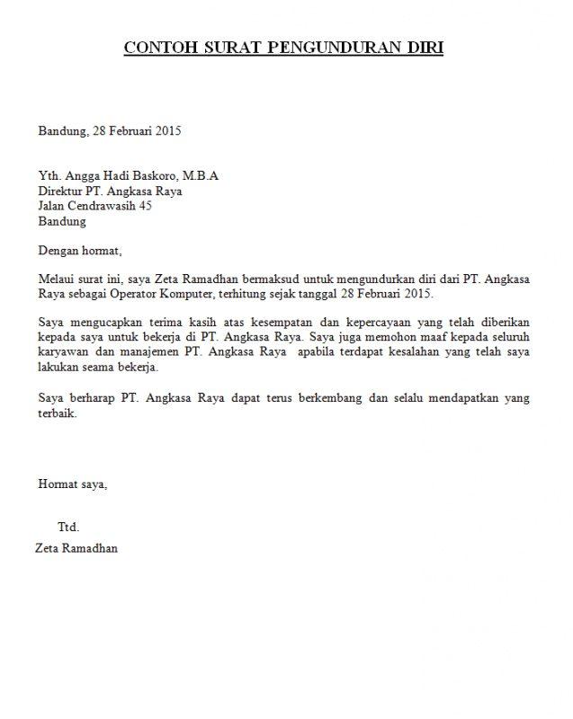 Contoh Surat Pengunduran Diri Resign Simple Public Domain
