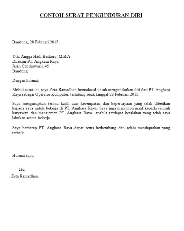 9 Contoh Surat Pengunduran Diri Resign Dari Jabatan