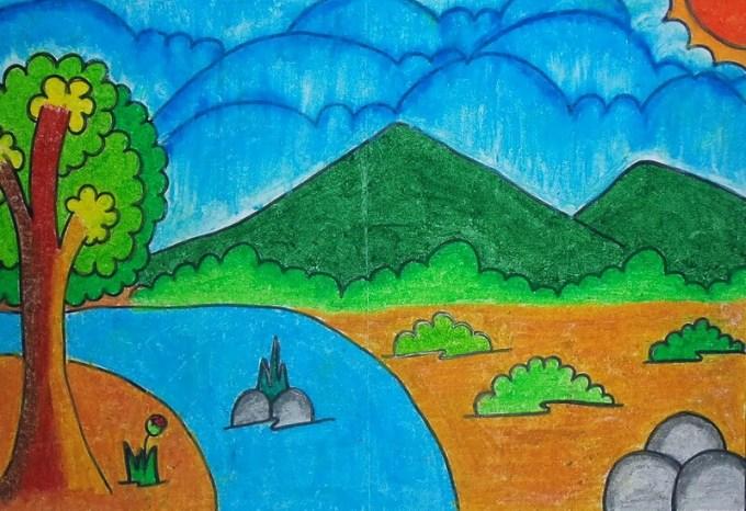 Contoh Gambar pemandangan alam untuk anak sd