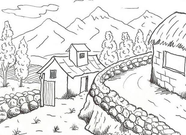 Anak Sd Gambar Pemandangan Gunung Dan Rumah Rumah Joglo