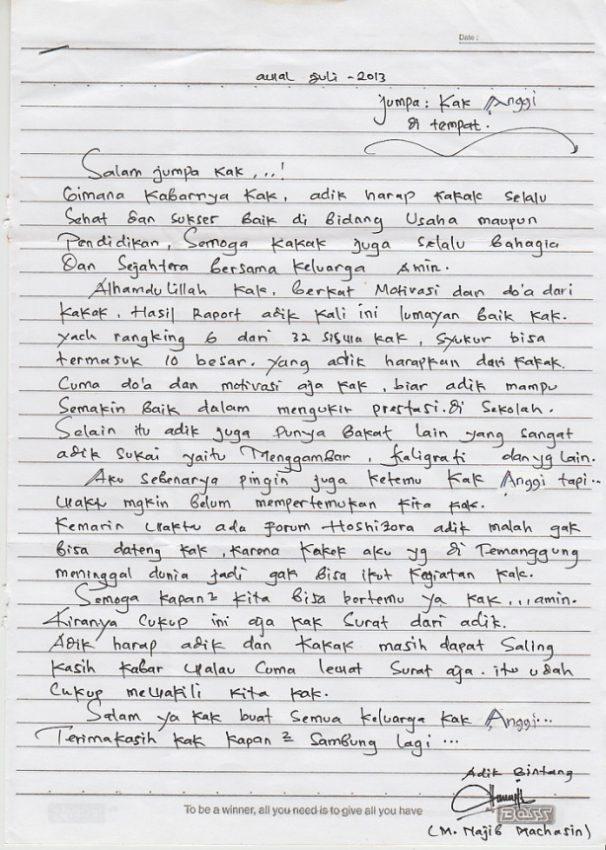 Contoh surat pribadi kepada saudara