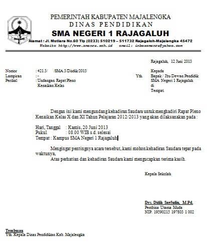 7+ Contoh Surat Undangan Rapat Resmi RT, Perusahaan ...