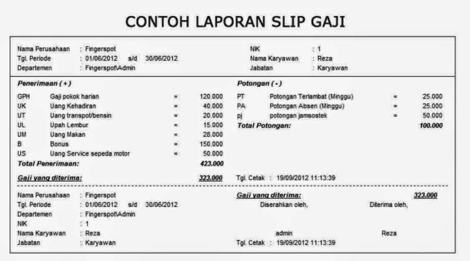 contoh slip gaji manager marketing