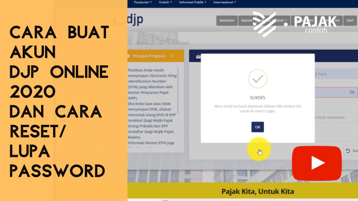 Cara Buat Login di DJP Online 2020 - Contoh Pajak