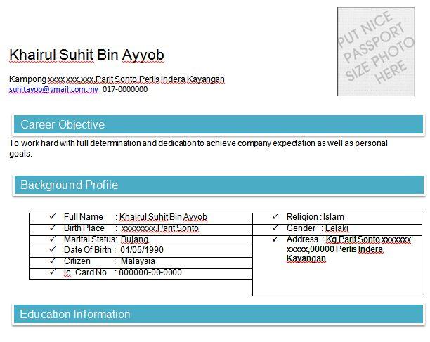 resume terbaik english