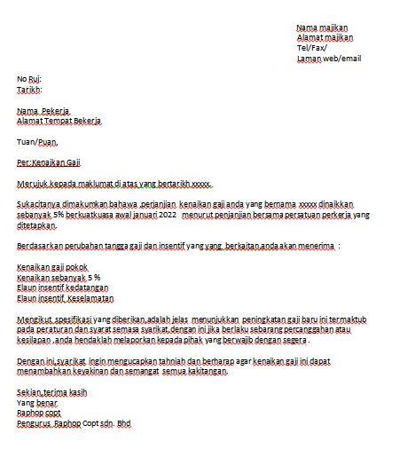 Contoh Surat Naik Gaji - Contoh Resume