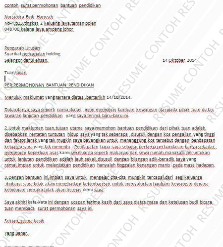 Contoh Surat Permohonan Bantuan Contoh Resume