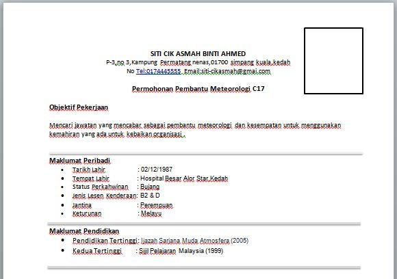 Contoh Resume Pembantu Meteorologi  Contoh Resume