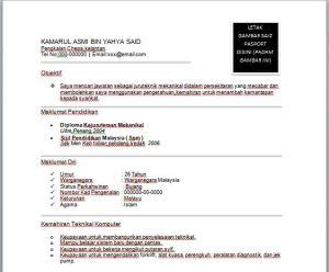 Contoh Resume Juruteknik Mekanikal Contoh Resume