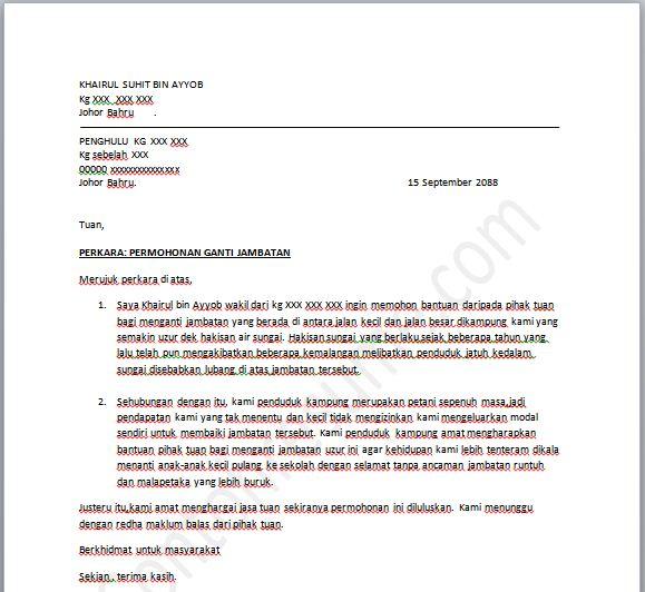 contoh surat rasmi kemaskini terbaru