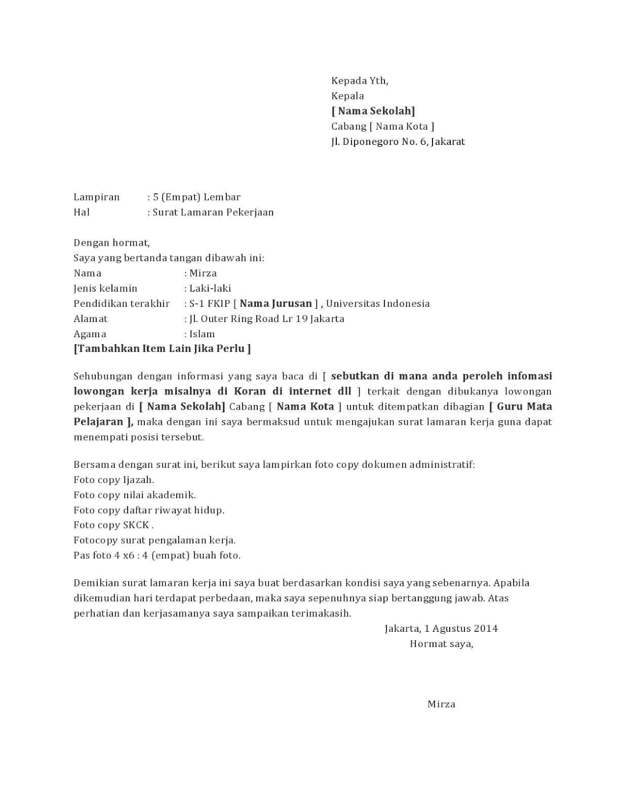 Contoh Surat Lamaran Kerja Guru SMP