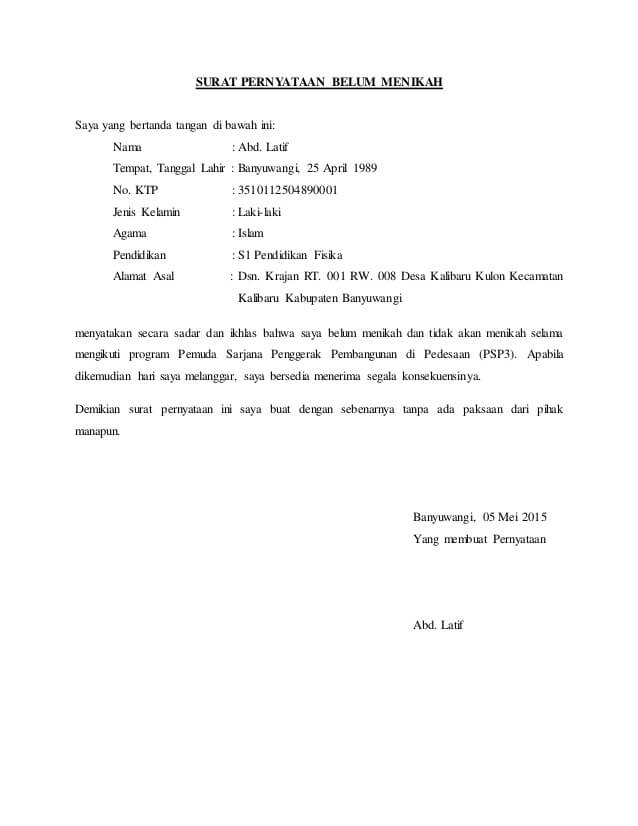 Contoh Surat Pernyataan Belum Menikah Sttd