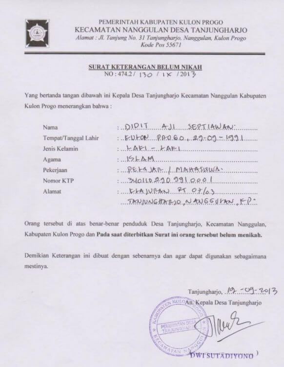Contoh Surat Pernyataan Belum Menikah Tulis Tangan
