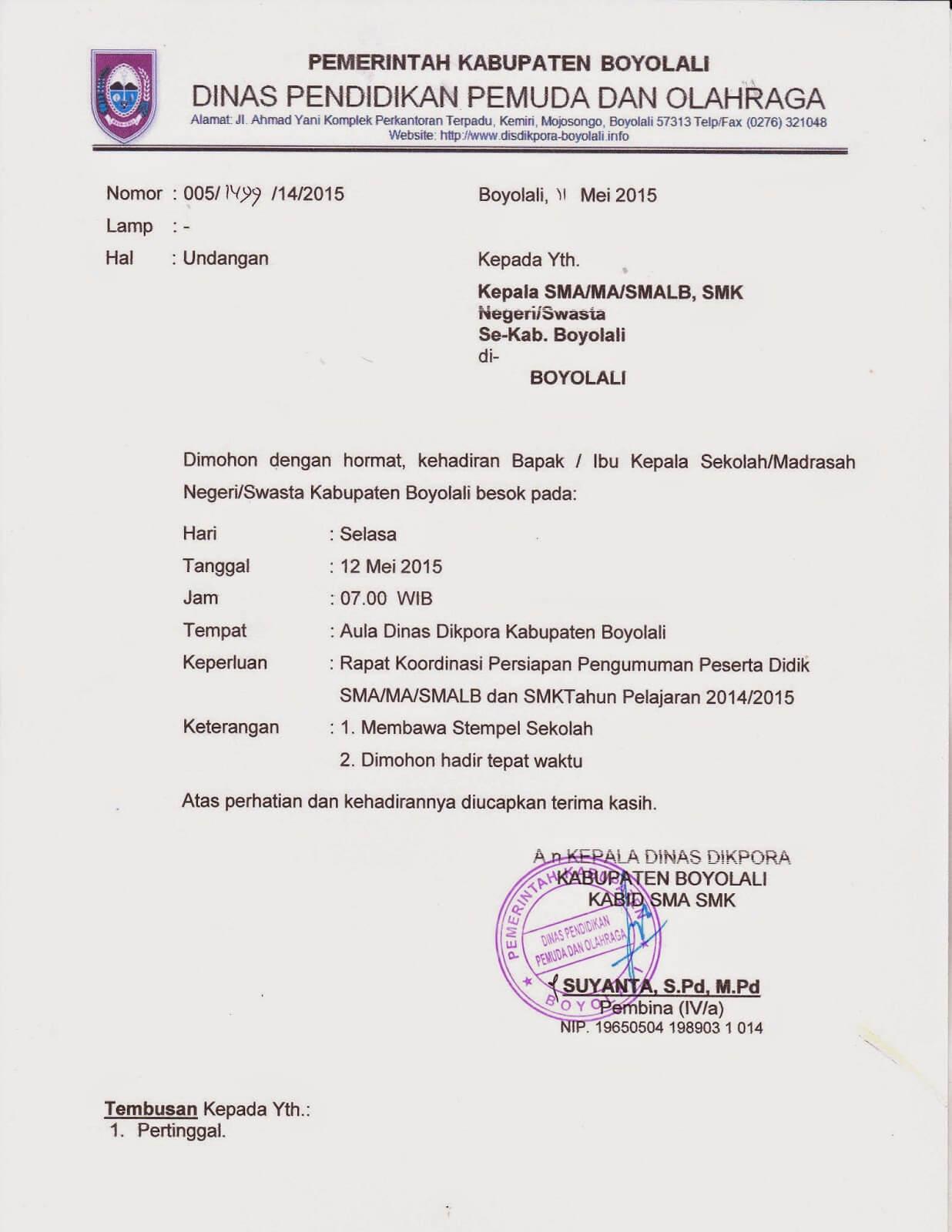 Contoh Surat Undangan Rapat Resmi Organisasi - Contoh Surat