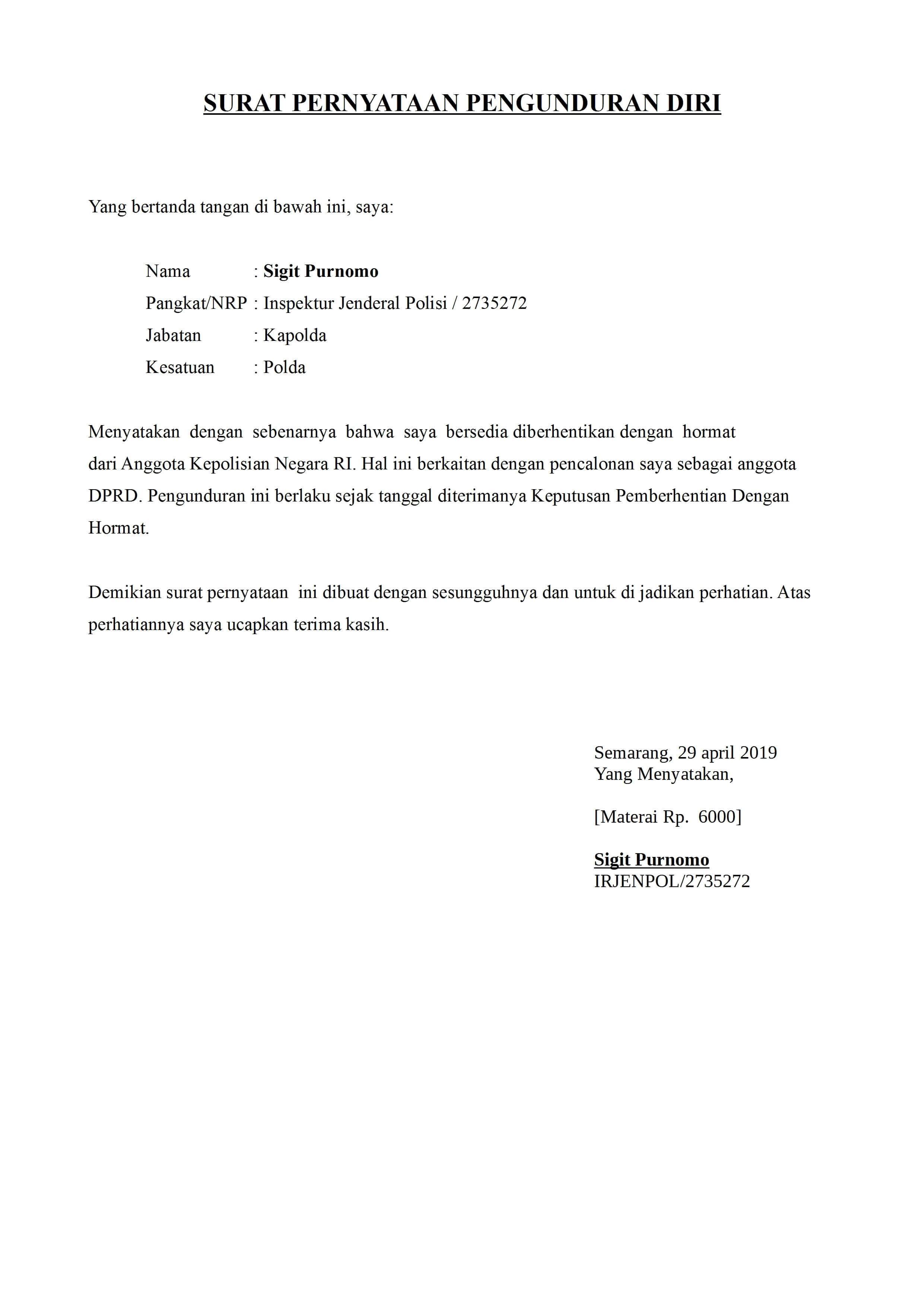 Formal Contoh Surat Pengunduran Diri Kerja