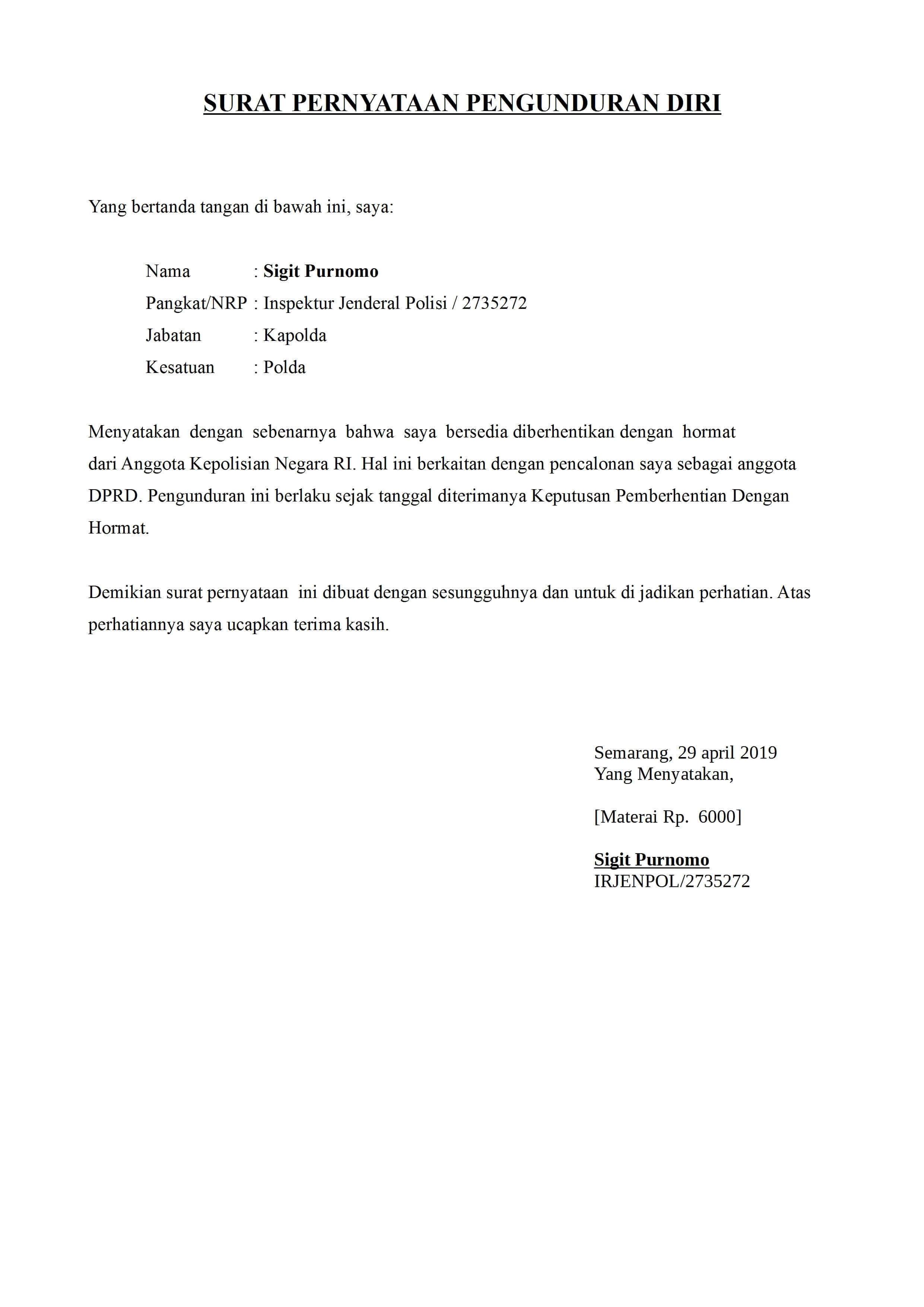 Contoh Surat Pengunduran Diri Pt Alfamart Contoh Surat