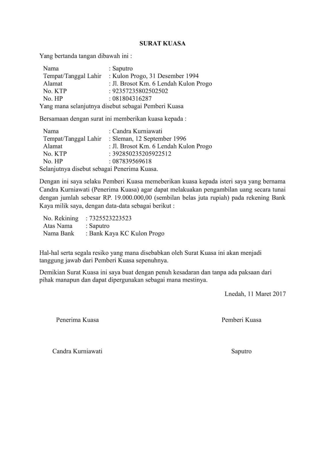 contoh surat kuasa pengambilan uang di bankbni