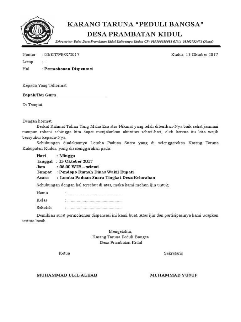 contoh surat dispensasi sekolah dari karang taruna