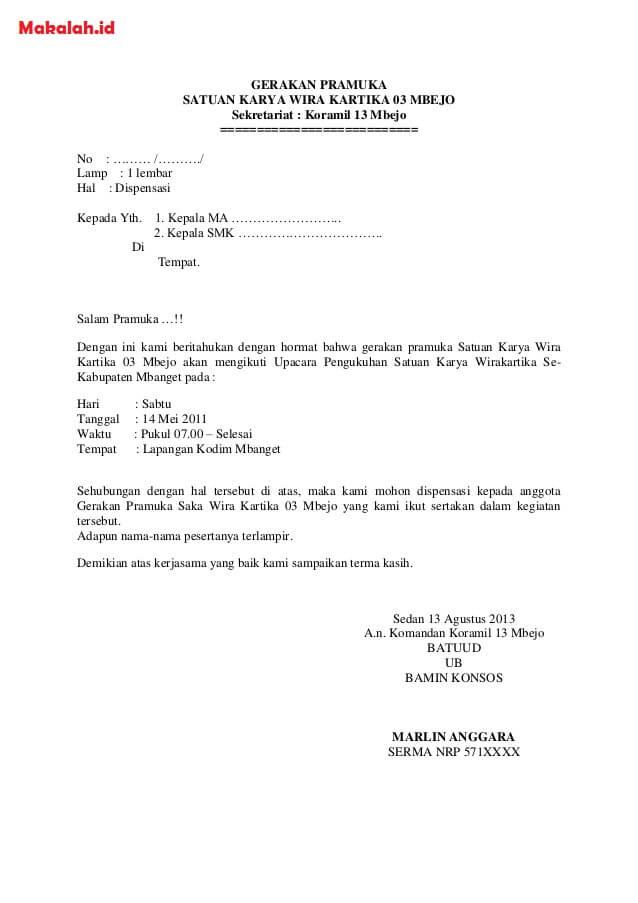 Contoh Surat Dispensasi Sekolah Untuk Kegiatan Pramuka