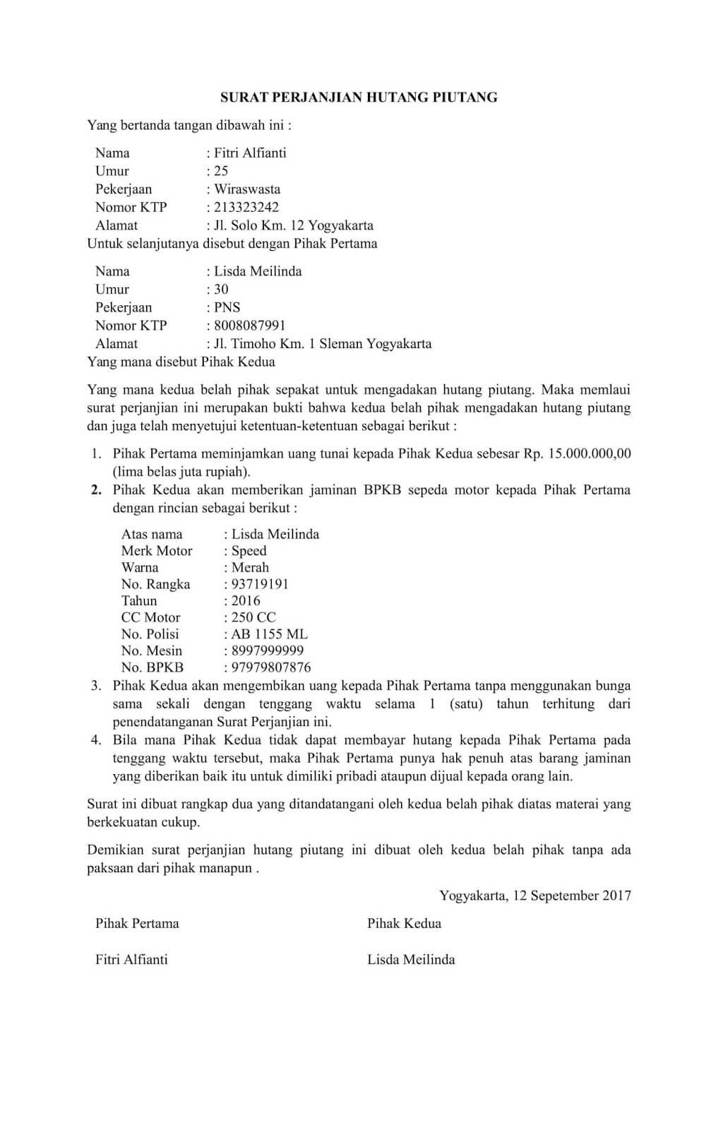 Contoh Surat Perjanjian Hutang Piutang Tanpa Jaminan