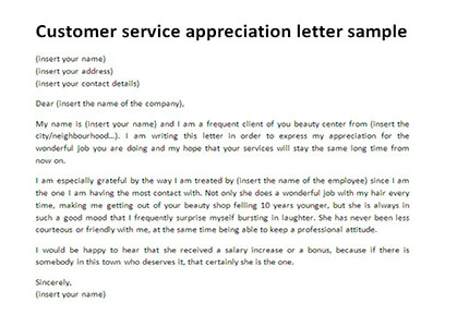 Appreciation Letter For Good Service