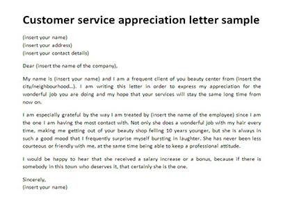 Appreciation Letter For Good Service