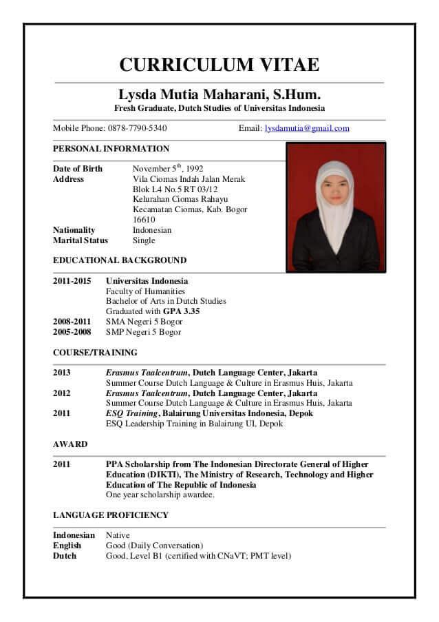 Contoh CV Dalam Bahasa Inggris Untuk Fresh Graduate