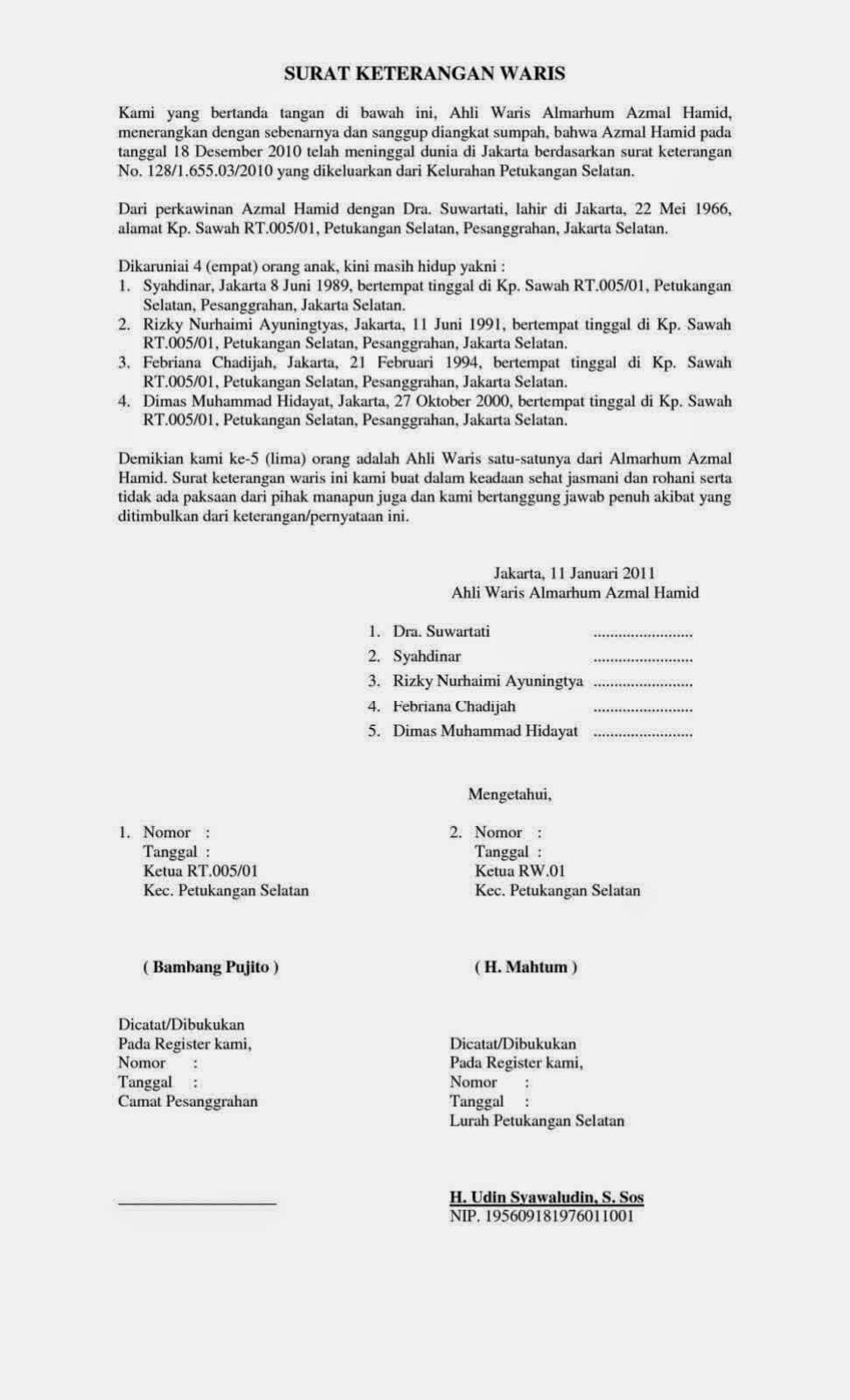 Contoh Surat Keterangan Ahli Waris Untuk Bpjs