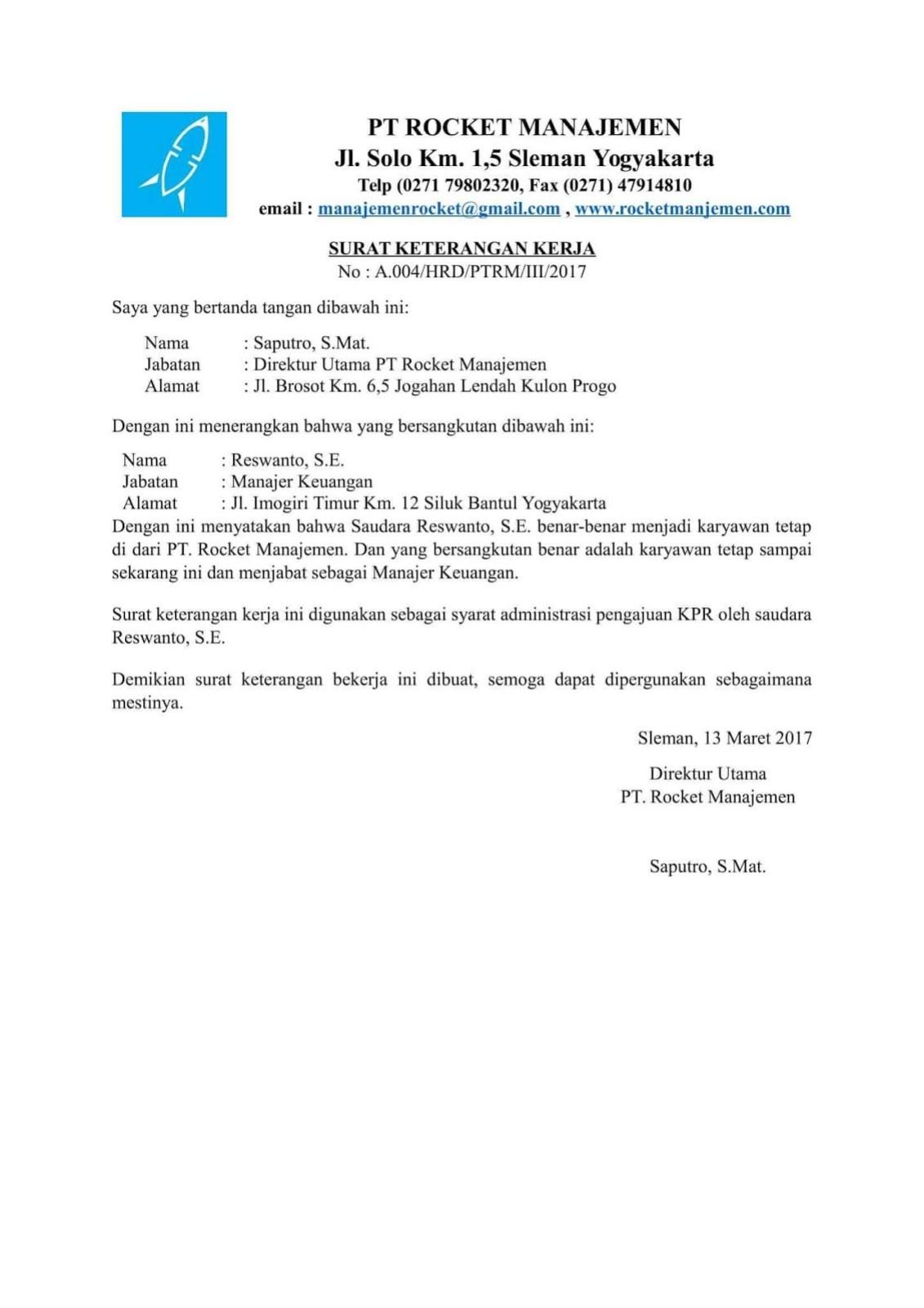 Contoh Surat Keterangan Karyawan Tetap Kumpulan Ilmu Dan