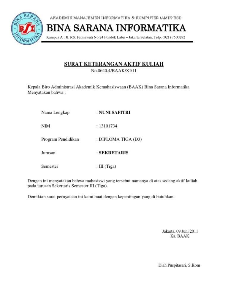 Contoh Surat Keterangan Kuliah Bsi