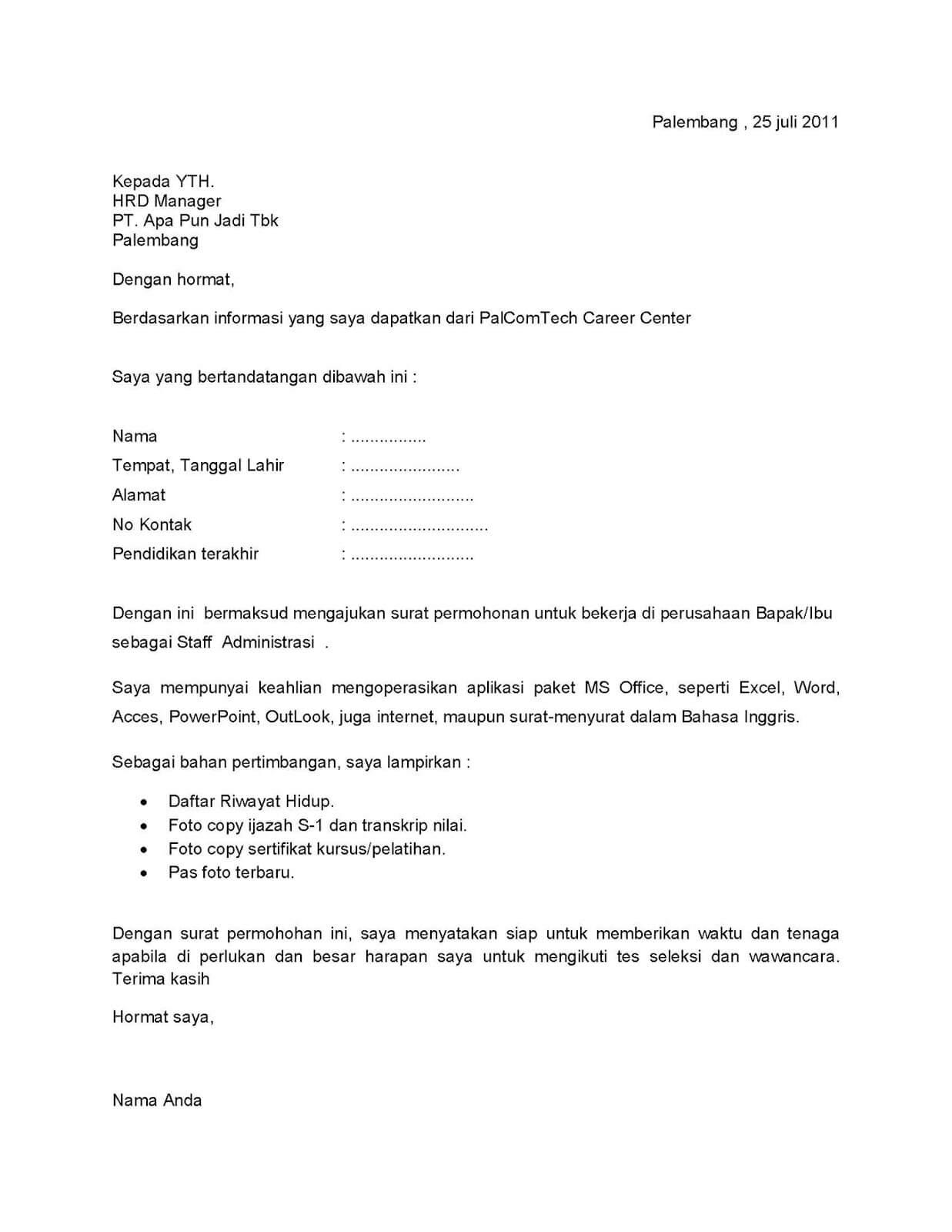 Contoh Surat Contoh Surat Lamaran Kerja Pt Pertamina Persero