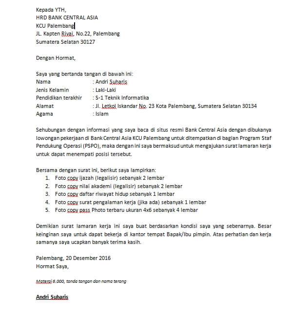Contoh Surat Lamaran Kerja Bank Bri Tanpa Posisi Bagi Contoh Surat