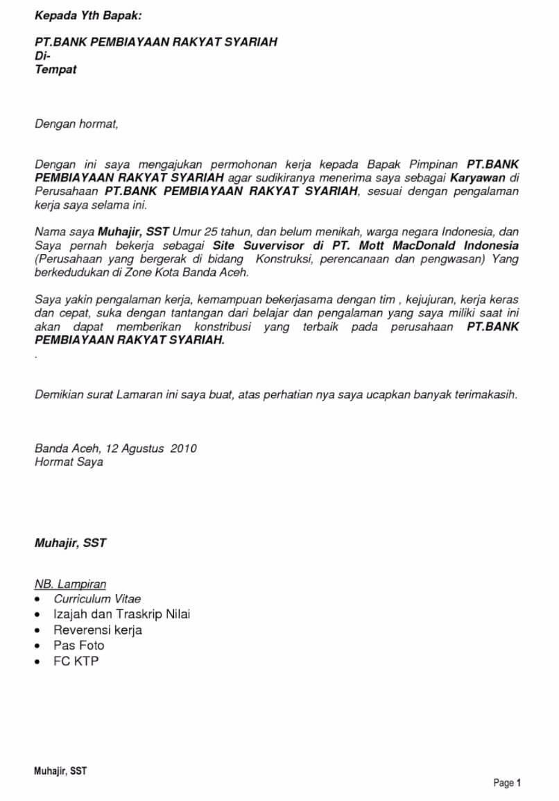 Contoh Surat Lamaran Kerja Di Bank Bpr
