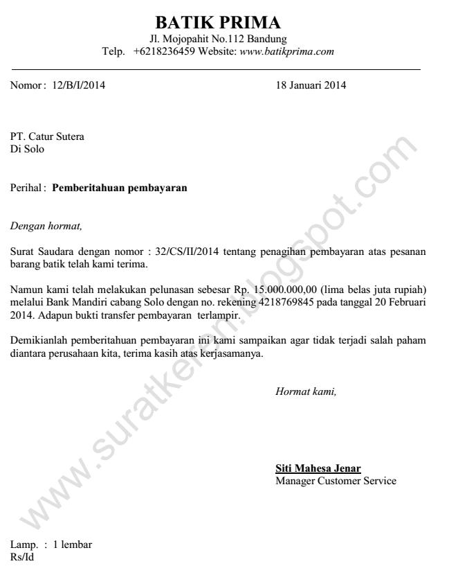 Contoh Surat Pemberitahaun Perusahaan
