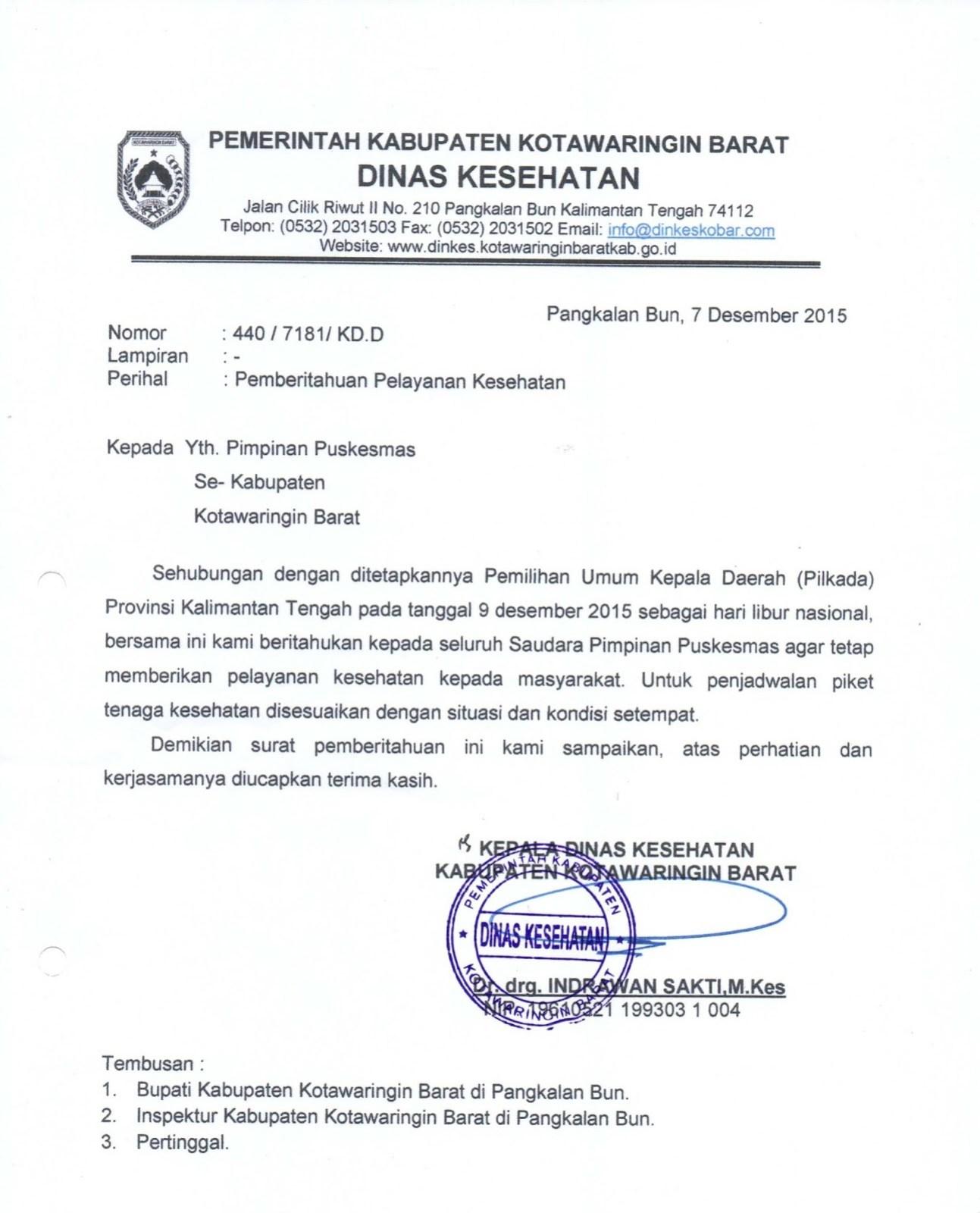 Contoh Surat Pemberitahuan Dinas