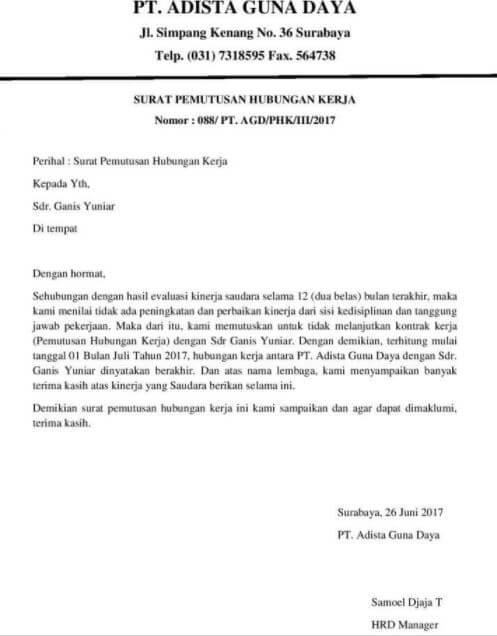 Contoh Surat Pemutusan Hubungan Kerja Untuk Karyawan Masa Percobaan
