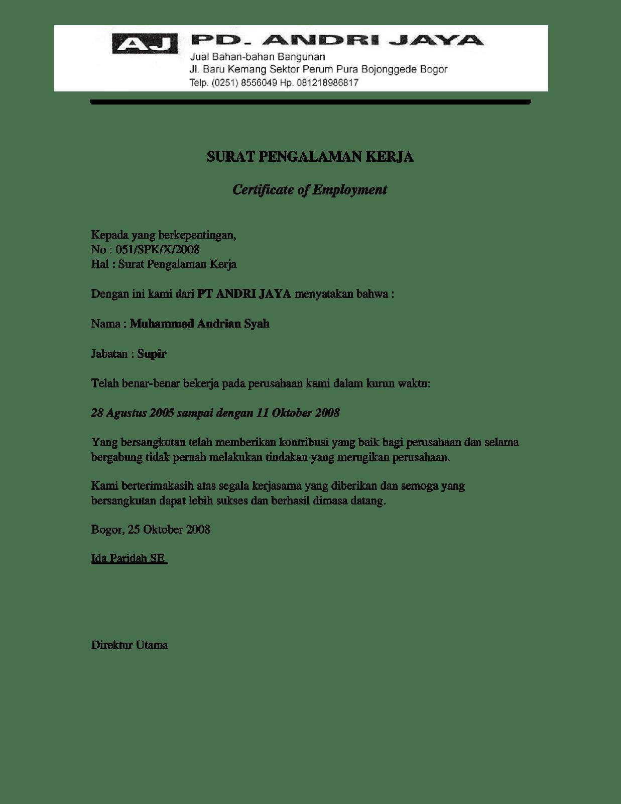 15 Contoh Surat Referensi Kerja Yang Benar Doc Contoh