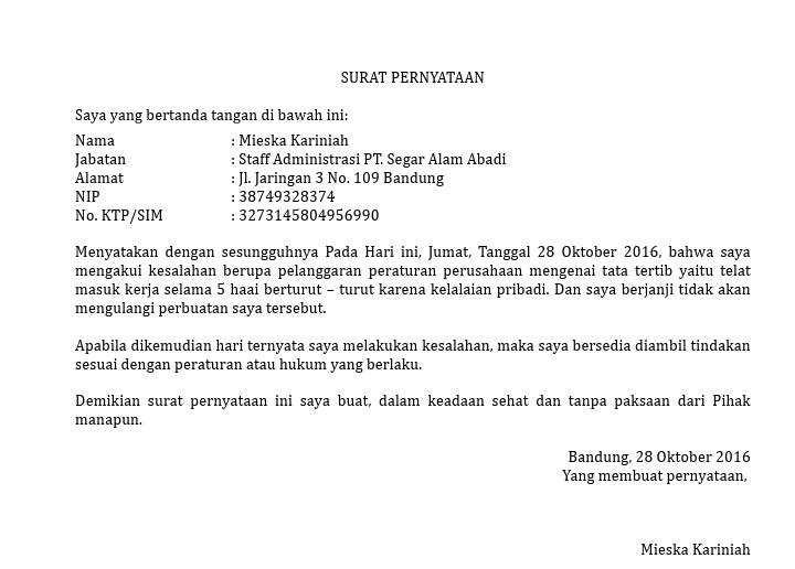Contoh Surat Pernyataan Kesalahan Karyawan