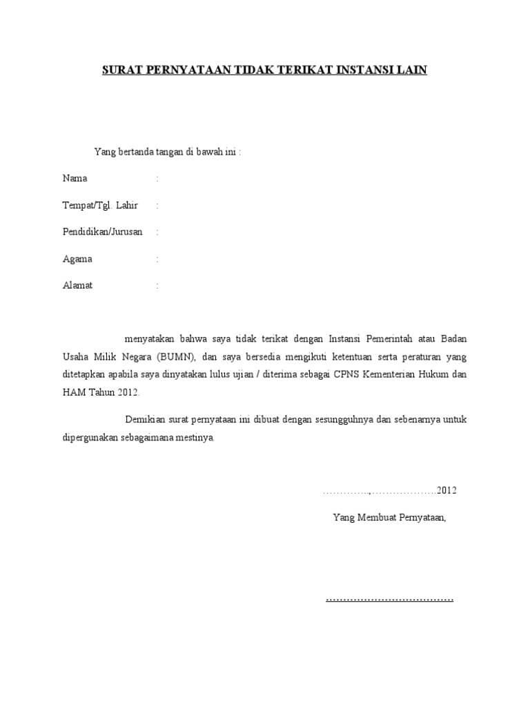 Contoh Surat Pernyataan Tidak Terikat Dengan Instansi Lain CPNS