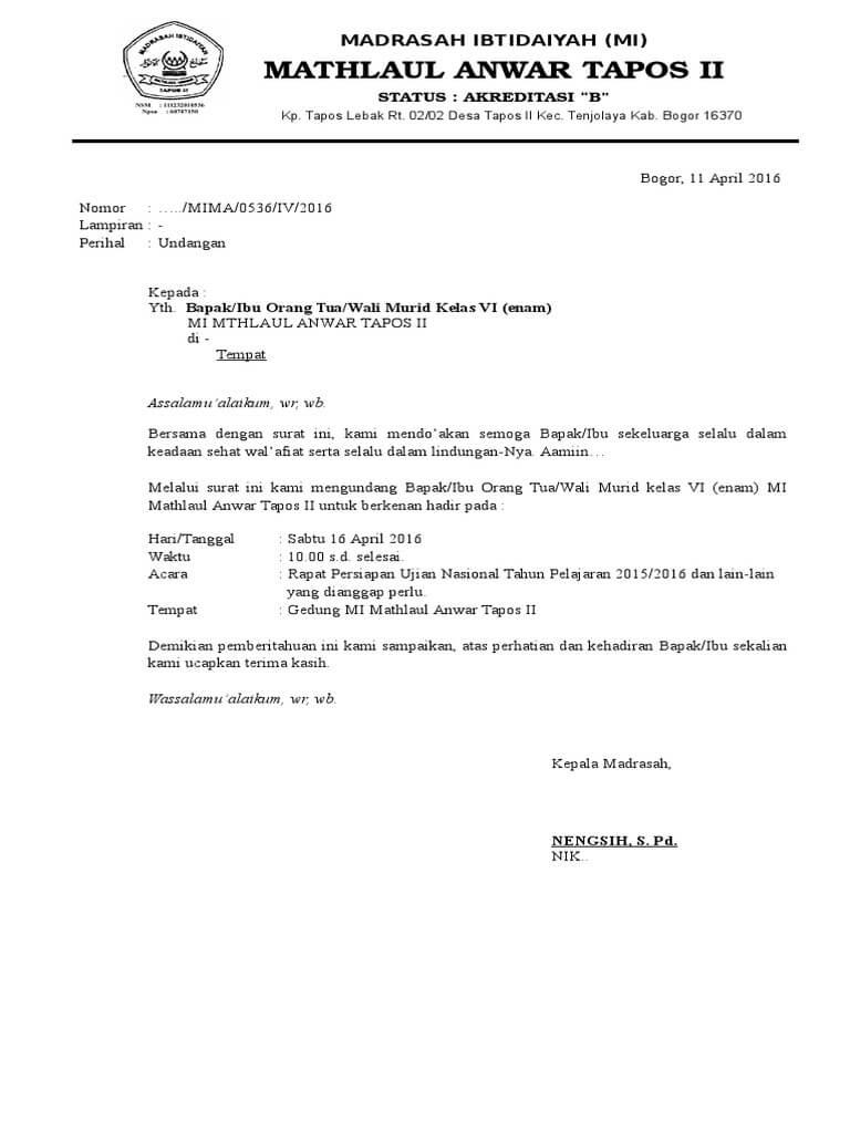 Contoh Surat Undangan Penerimaan Raport Siswa
