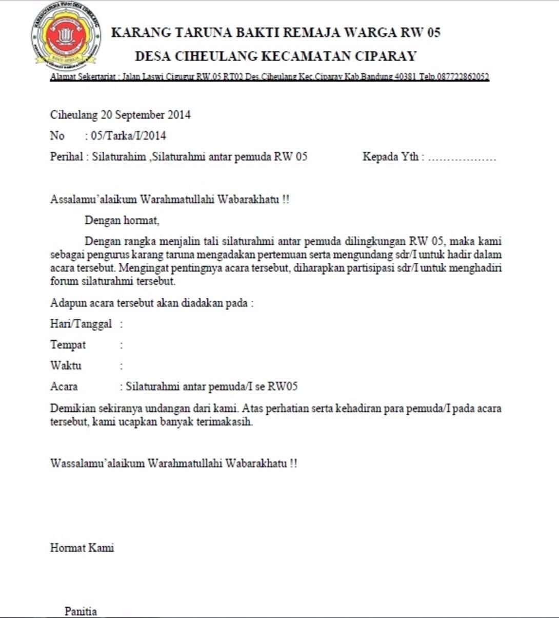 Contoh Surat Undangan Rapat Organisasi