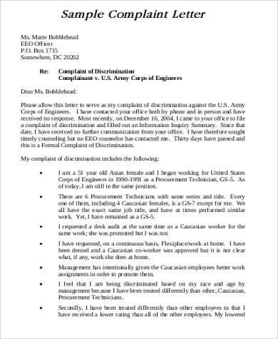 Formal Complaint Letter Sample Against A Person