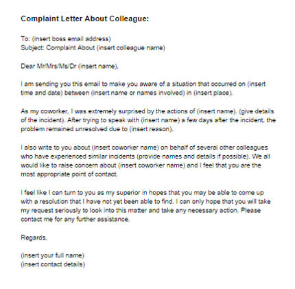 How To Write A Formal Complaint Letter About A Coworker