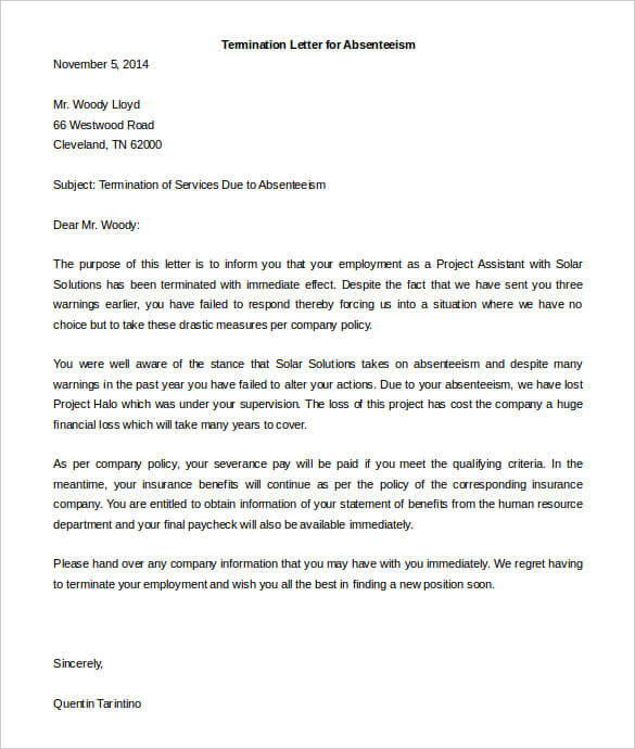 Sample Termination Letter Due To Absenteeism