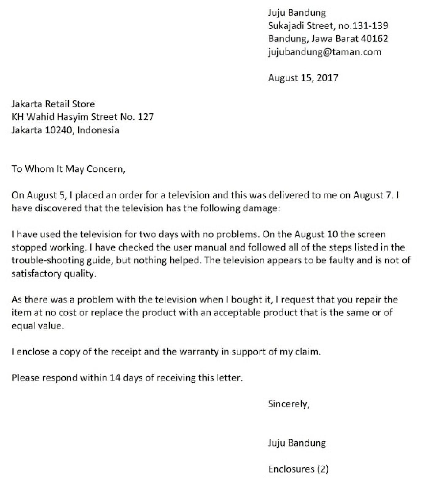 10 Contoh Surat Pengaduang Barang Dan Balasan Pengaduan