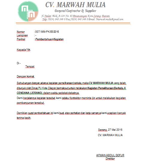 Contoh Surat Permohonan Izin Mulai Kerja Proyek